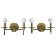 1stdibs Pair of Lightolier Brass Sconces