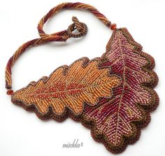 Oak Leaves Necklace by mischka.anna, via Flickr  #beadwork
