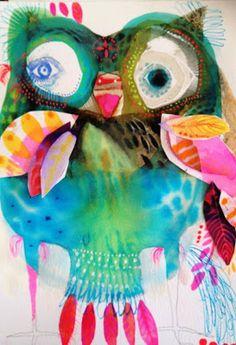 owl by jessie breakwell Atelier D Art, Bird Artwork, Cute Owl, Art Graphique, Art Plastique, Watercolor Paintings, Watercolour, Art Education, Art Boards