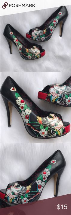 """Iron Fist sugar skull heels Iron Fist heels size 10. Some wear on the inside, mainly due to adhesive I had to peel off from shoe pads. Minor scuffing on back of heels also. Price reflects """"damages"""" Iron Fist Shoes Heels"""