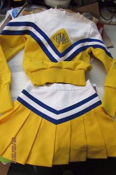 Real Vintage Cheerleading Uniform Outfit 2 Piece Set | eBay