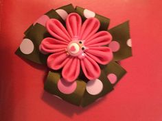 Pink and brown owl bow