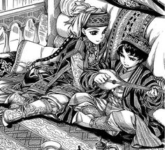 """Amir and Karluk from Kaoru Mori's """"A Bride's Story"""". If you haven't read it yet, read it now! It's gorgeous artwork and an enchanting culture with captivating characters. Also, I got my dad to love the first three volumes of it out so far. My mom got into Mori-sensei's other book, Emma, so I really belive Mori-Sensei is one of the best mangaka out there."""