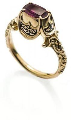 RENAISSANCE RUBY RING. Reconstruction of 16th century ring. Europe. Gold, ruby, black enamel. 2016. #GoldJewellery16ThCentury