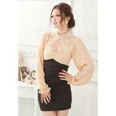 $13.70 Alluring Low-Cut Backless Splice Design Long Sleeve Slim Fit Women's Club Dress