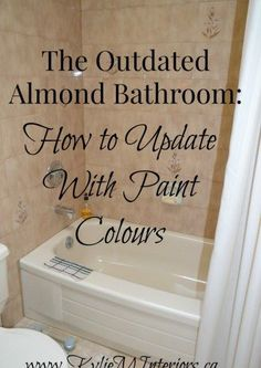 ideas for how to update an almond or bone bathroom with toilet, tub and sink using the best paint colours