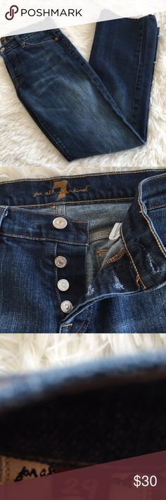 """7 For All Mankind Size 29 Boycut Jeans 16"""" across the waist measured flat, 32"""" inseam,  hems are clean with no damage.  Full button fly, one of the belt loops is ripped please see pictures.  Some washwear is also pictured.  Still tons of life left! 7 For All Mankind Jeans"""
