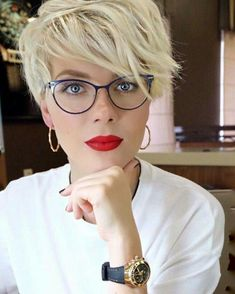 Perfect red lipstick with glasses