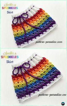 Crochet X Stitch, Sparkle & Sprinkles Skirt Free Pattern - Crochet Girls Skirt Free Patterns #CrochetSkirt