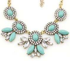 TQ Fashion New Fall Desing lady bib statement Turquoise Multi acryli crystal Necklace hot by TQ FASHIONTake for me to see