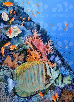 Surgeon fish in color garden by ArtsOcean on Etsy