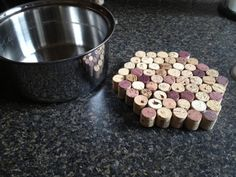 Put your hot pots on this neat homemade holder made from wine corks.