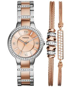 Fossil Women's Virginia Crystal Accent Two-Tone Stainless Steel Bracelet Watch Set 30mm ES3697 - Watches - Jewelry & Watches - Macy's
