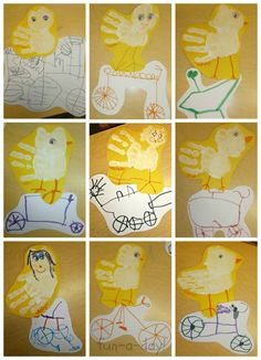 """Duck on a Bike"" Story Retelling and Hand Print Art"