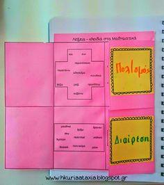 Η κυρία Αταξία: Τρίπτυχο με λέξεις-κλειδιά για τα Μαθηματικά! Personalized Notebook, Handmade Notebook, Planner A5, Third Grade Math, Second Grade, Greek Language, Custom Notebooks, School Grades, Arithmetic