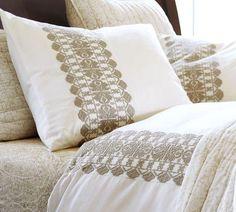 Embroidered Stripe Duvet Cover & Sham| Pottery Barn   Mine!