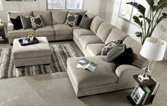 Contemporary Style Living Room In Neutral Tones Interior Completed With Grey Sectional Sofa Of Schneidermans Furniture