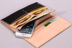 Handmade vintage black minimalist leather phone clutch long wallet for | EverHandmade