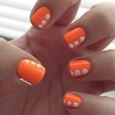 Big DOTS - Models Own Orange Sorbet with Sally Hansen White On dotting nail art by GlitterObsession.com