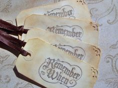 Remember When Vintage Gift Tags 4 Medium Tags by LilLoveNotes, $3.50