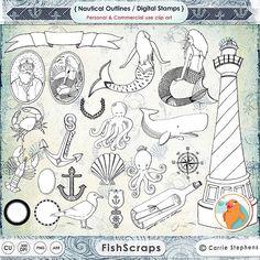 50% Sale - Nautical Digital Stamps - Mermaid Clip Art - Beach Wedding - Nautical Graphics - PNG + Photoshop Brushes - Doodles & Line Art