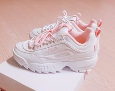 Details about ✈ Fila Disruptor II 2 Women White Pink Shoes US Size Accelerated Via DHL SHIP- view original title - Women Shoes Cute Sneakers, Cute Shoes, Women's Shoes, Me Too Shoes, Shoe Boots, Pink Shoes Outfit, Ankle Boots, Sneaker Outfits, Girls Shoes