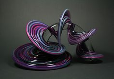 """""""Purple and Blue Mix Heechee Probe"""" Art Glass Sculpture Created by Thomas Kelly"""