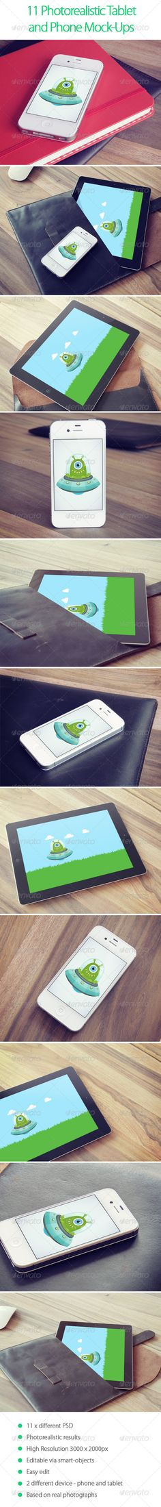 11 Photorealistic Tablet and Phone Mock-Ups - Displays Product Mock-Ups