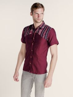 Maumere Tenun Combination Shirt (Dark Maroon) African Shirts, African Men, Dress Brokat, Batik Fashion, Batik Dress, Men Design, African Print Fashion, Kebaya, Shirt Style