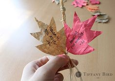 Write what we're thankful for on leaves and make it a garland or tie the ends together for a wreath