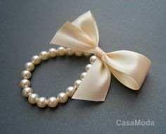 Flower Girl Pearl Bracelet Flower Girls Gifts In Cream Swarovski Crystal Pearls With Cream Satin Ribbon