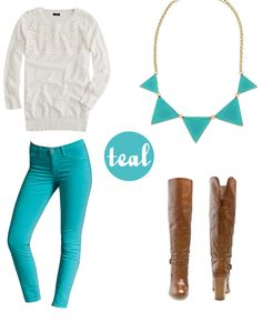 Teal jeans/pants outfit // white sweater, statement necklace, brown riding boots