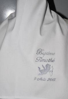 ea9b8c8857c8 écharpe de baptême bébé ange personnalisée brodéeici gris Bébés Anges,  Bapteme Bebe, Fille Garçon