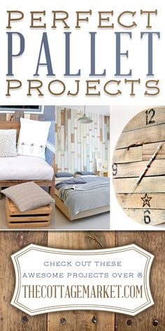 Pallet Designs Perfect Pallet Projects - The Cottage Market - Are you looking for some perfect Pallet Projects? Well we have a dozen here that are totally outstanding!I bet you find a perfect project! Diy Wood Pallet, Pallet Crafts, Diy Pallet Projects, Wood Pallets, Home Projects, Pallet Clock, Pallet Walls, Pallet Ideas, Pallet Furniture