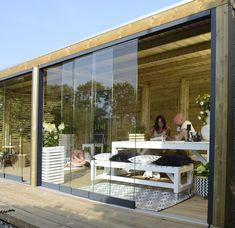 Sliding glass wall per meter. Can be ordered per str . Outdoor Rooms, Outdoor Living, Outdoor Decor, Pergola, Gazebo, Outdoor Fire Table, Enclosed Patio, Backyard Patio Designs, Garden Living