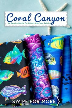 Coral Canyon is a beautiful ocean life collection by Carolyn Steele for Robert Kaufman Fabrics. Get this ocean-themed print by the yard for your next project. Shop now at www.shabbyfabrics.com! Shabby Fabrics, Beautiful Ocean, Robert Kaufman, Coral, Diy Projects, Ocean Life, Yard, Collection, Shop