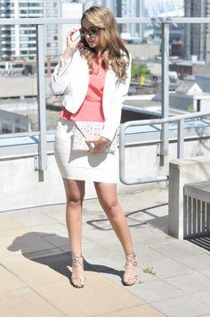 White skirt and blazer.