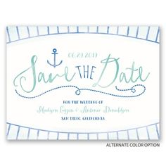 Watercolor Nautical Save the Date Cards at Ann's Bridal Bargains