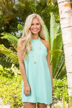 Can't Stop This Love Scalloped Dress Mint - The Pink Lily