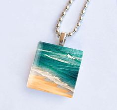 Nautical jewelry glass tile pendant necklace