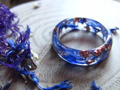 Blue Flower Resin Ring Nature Ring Faceted Metallic by AlpacaBlue