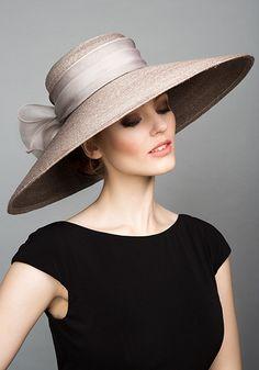 Rachel Trevor Morgan Millinery S/S 2015, R15102 Grey Italian straw hat