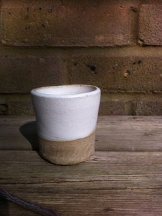 Cream Stoneware Cup by OddJobsandArt on Etsy