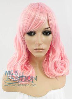 Heat Resistant Medium Wavy Light Pink Fashion Stylish Hair Wig WIG074