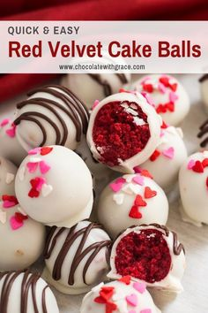 Red Velvet Cake Balls made with cream cheese frosting, either homemade or from a can, You choose. They are dipped in white chocolate and make a pretty truffle for Valentine's Day or Christmas # cake pops Red Velvet Cake Balls - Chocolate With Grace Valentine Desserts, Valentines Day Decorations, Valentines Baking, Valentines Day Desserts, Valentine Cake Pops Recipe, Valentine Food Ideas, Valentine Treats, Cake Pops Red Velvet, Red Velvet Truffles