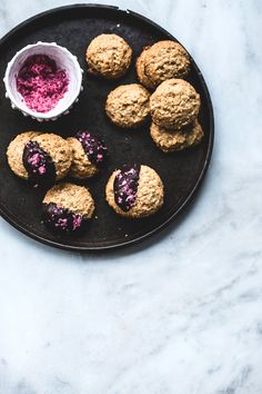 Chocolate-Dipped Peanut Butter Cookies with Pomegranate Salt | Top With Cinnamon