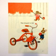Little Red Tricycle Vintage Print by EstrangedEphemera on Etsy, $4.00