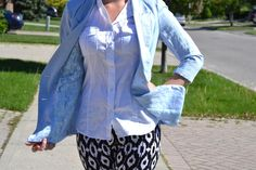baby blue blazer with lace