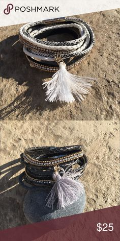 White Tassel Double Wrap Bracelet Made with a magnetic clasp to be wrapped twice. Can also be worn as a choker!! Boho Gypsy Sisters Jewelry Bracelets