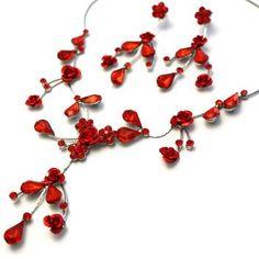 Ruby Red Rose Flower Vine Silver Jewellery Set Red Rose Flower, Red Roses, Engraved Jewelry, Personalized Jewelry, Jewelry Sets, Jewelry Making, Red Rose Wedding, Crystal Rose, Flowering Vines